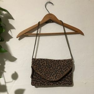 J. Crew Leopard Leather Envelope Clutch on Chain